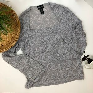 MetroStyle Gray Lace Semi-sheer Stretch Top XL